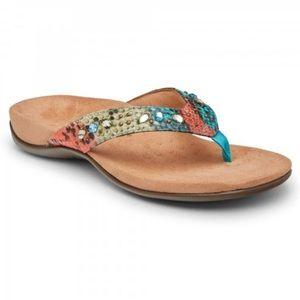 Vionic | Women's Lucia Toe Post Sandal Teal Snake